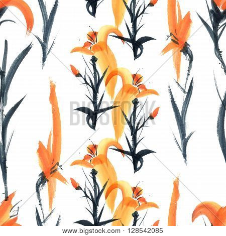 Lily. Watercolor and ink painting in style gohua sumi-e u-sin. Oriental traditional painting. Seamless pattern.