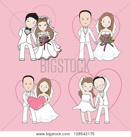 wedding cartoon bride and groom holding each other's hands with happy face