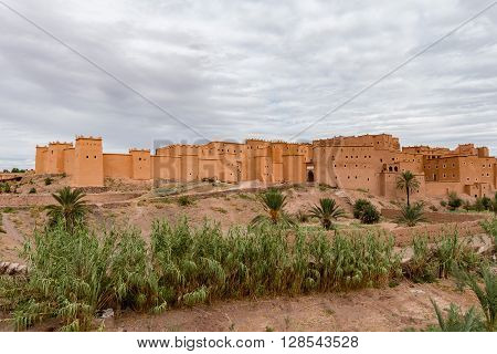 Exterior view of Kasbah Taourirt in Ouarzazate Morocco.