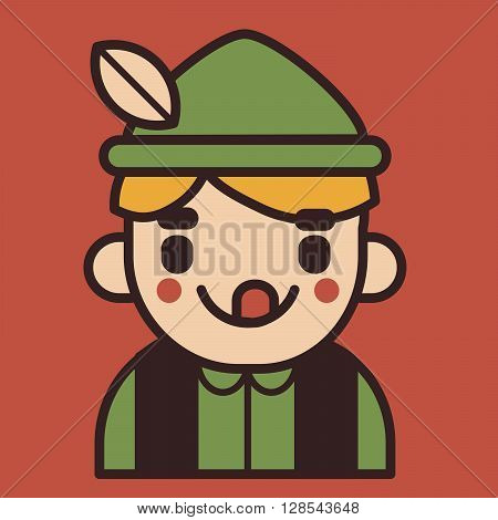 Vector illustration of a cartoon iconic boy wearing traditional german clothing sticking the tongue out.