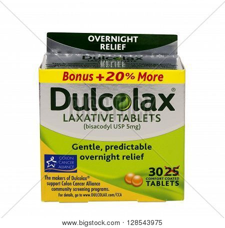 RIVER FALLS,WISCONSIN:MAY 05,2016: A box of Dulcolax brand coated laxative tablets. Dulcolax is a product of Boehringer Incelheim Pharmaceuticals.