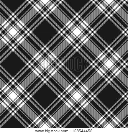 Menzies tartan black kilt diagonal fabric texture background seamless pattern.Vector illustration. EPS 10. No transparency. No gradients.