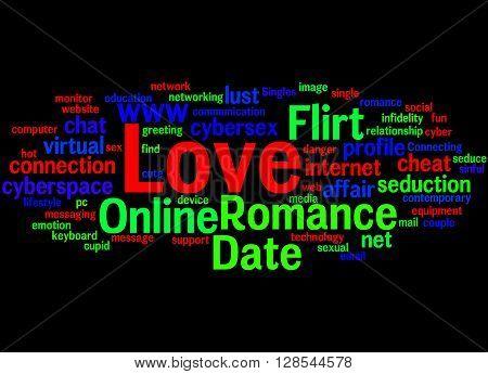 Date Love Romance Love Flirt Online, Word Cloud Concept 3