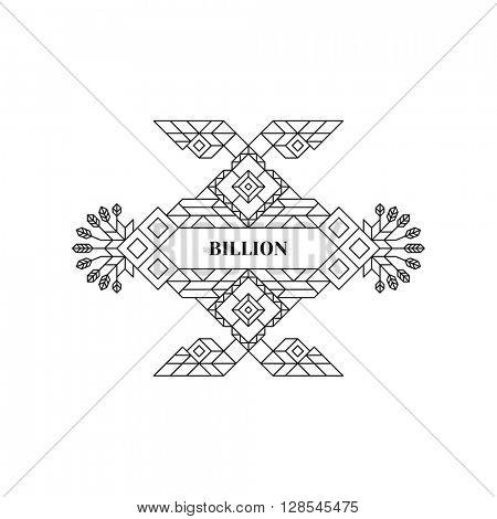 Line Art Design. Geometric Style. Wedding Invitation. Lineart Vector Illustration.