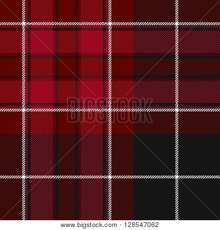 Pride of wales fabric texture red and black tartan seamless pattern. Vector illustration. EPS 10. No transparency. No gradients.