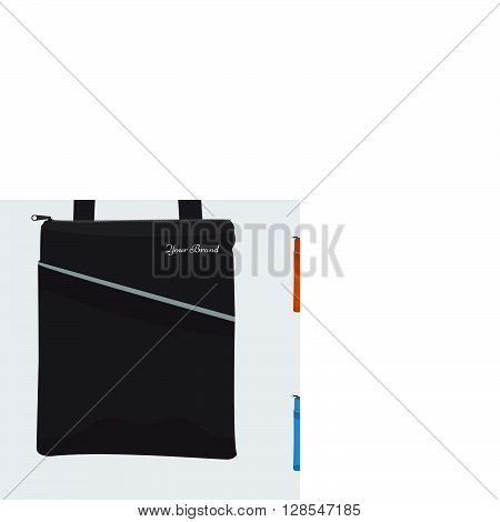 Set of Detailed Bag with front pocket and zip flat and solid color design. Fabric tablet bag or sport bag for corporate identity and promo gift.
