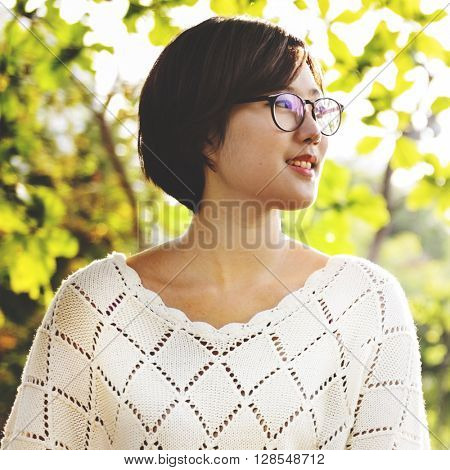Asian Girl Freedom Environmental Park Nature Relaxation Concept