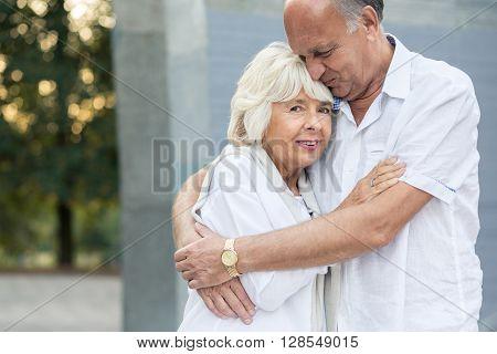 Senior Marriage Hugging