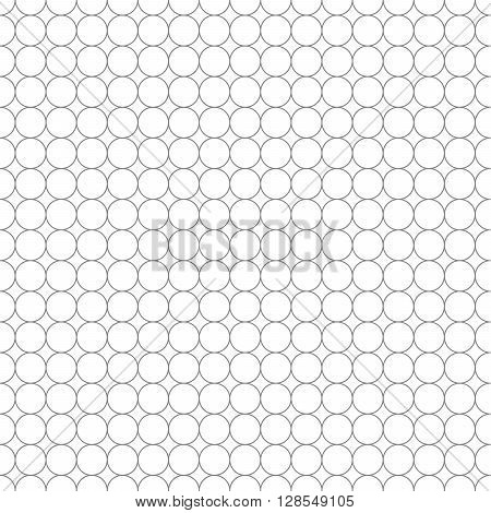 Gray grid made up of five millimeters circles on white, seamless pattern
