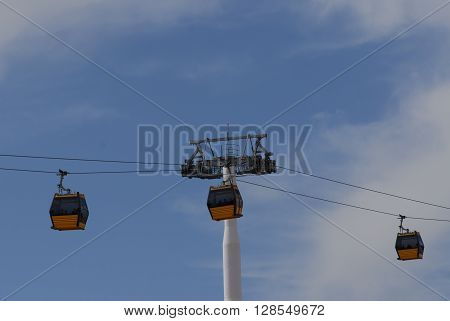 ANKARA/TURKEY-APRIL 24, 2016: Sentepe Ropeway is a free of charge ropeway at the Municipality of Yenimahalle for public transportation. April 24, 2016-Ankara/Turkey