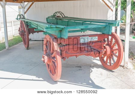 KNYSNA SOUTH AFRICA - MARCH 3 2016: Historic wagon used for bringing timber logs into Knysna