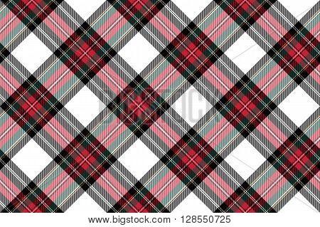 dress stewart tartan fabric texture seamless pattern diagonal .Vector illustration. EPS 10. No transparency. No gradients.