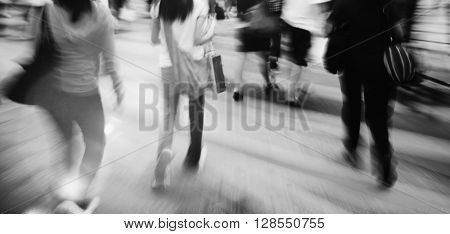 People in Motion Crowed People Street Concept
