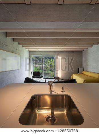 Architecture modern design, steel sink of the kitchen