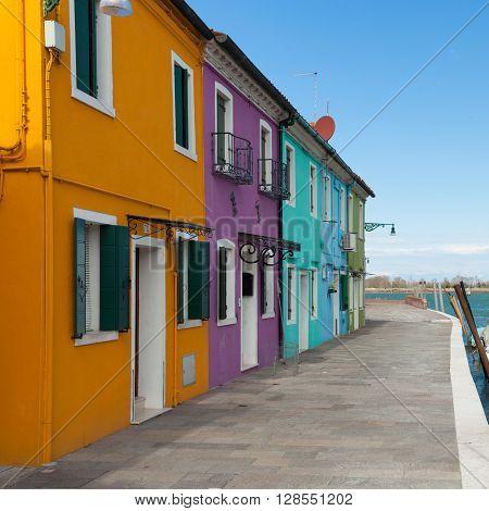 Coloful houses of Burano - island in Venetian Lagoon