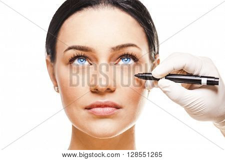 Close-up portrait of young beautiful woman, facial plastic surgery concept