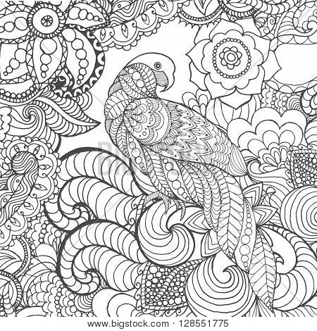 Cute parrot in fantasy garden. Animals. Hand drawn doodle. Ethnic patterned illustration. African, indian, totem tatoo design. Sketch for avatar, tattoo, poster, print or t-shirt.