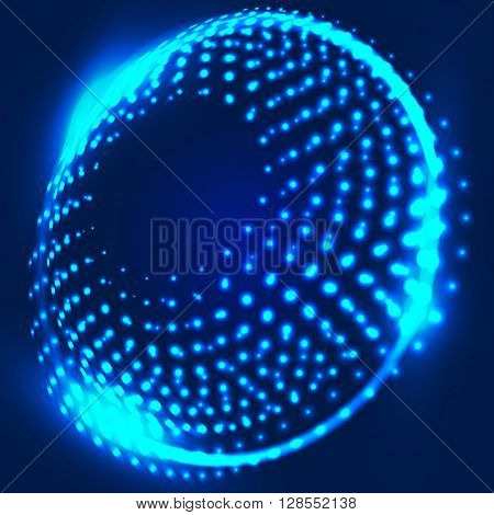 Abstract blue background with glowing spiral. Abstract background with luminous swirling backdrop. Intersection curves. Glowing circles. Design element in vector.
