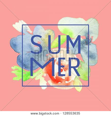 Print for T-shirt with watercolor flowers. Postcard summer. Watercolor illustration.