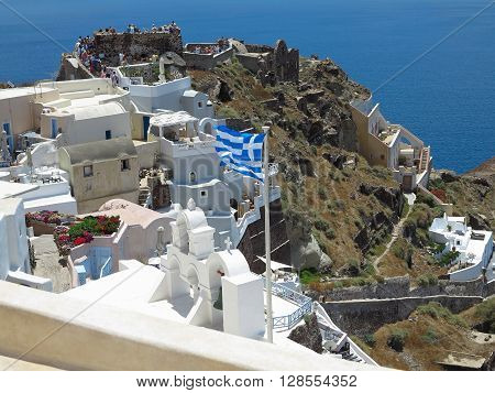 Crete Greece. 18.06.2015  Romantic beautiful cityscape and blue sky of Oia on Santorini island in Greece.