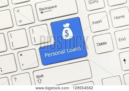 White Conceptual Keyboard - Personal Loans (blue Key)