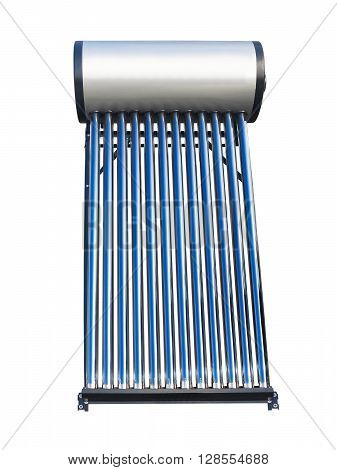 Blue tubes of solar water heater over white background