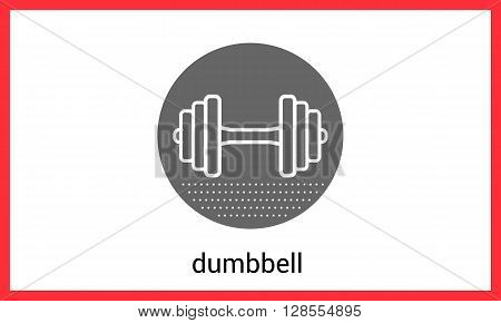 Dumbbell contour outline vector icon. Barbell linear pictogram