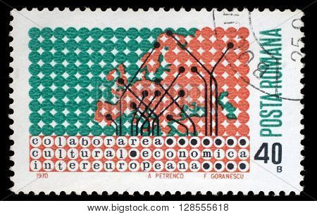 ZAGREB, CROATIA - JULY 18: a stamp printed in Romania shows Map of Europe in dot pattern, circa 1970, on July 18, 2012, Zagreb, Croatia
