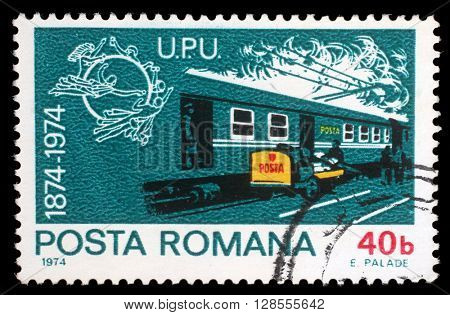 ZAGREB, CROATIA - JULY 18: A stamp printed by Romania, shows post train, circa 1974, on July 18, 2012, Zagreb, Croatia