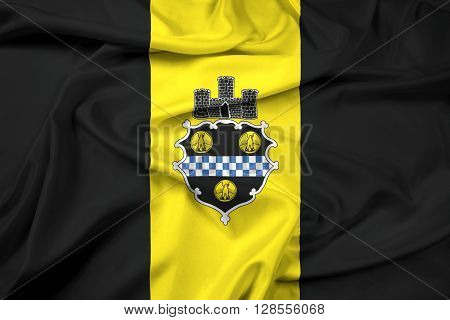 Waving Flag of Pittsburgh Pennsylvania, with beautiful satin background.