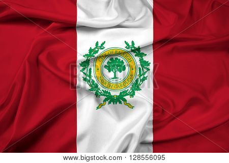Waving Flag of Raleigh North Carolina, with beautiful satin background.