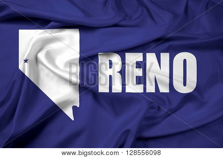 Waving Flag of Reno Nevada, with beautiful satin background.