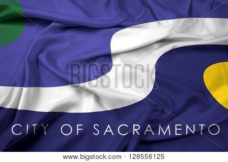 Waving Flag of Sacramento California, with beautiful satin background.