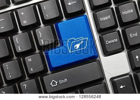 Conceptual Keyboard - Blue Button With Folder And Key Symbol
