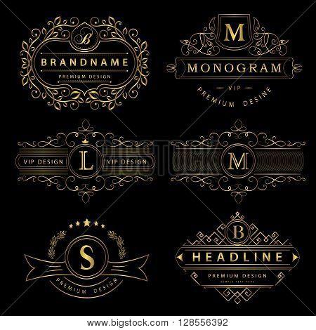 Vector illustration of Monogram design elements graceful template. Calligraphic elegant line art logo design. Gold Letter emblem sign B M L S for Royalty business card Boutique Hotel Restaurant Cafe