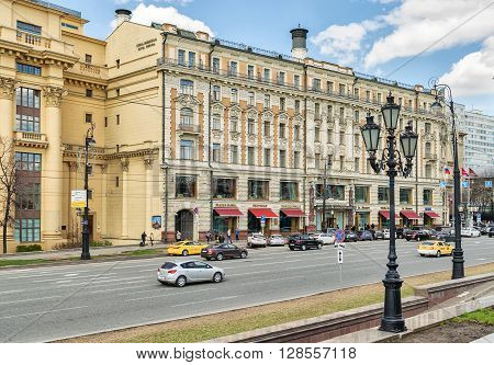 Moscow Russia - April 24 2016: Hotel National. Built in 1903. Hotel National has been an awe-inspiring historic landmark for more than a century.