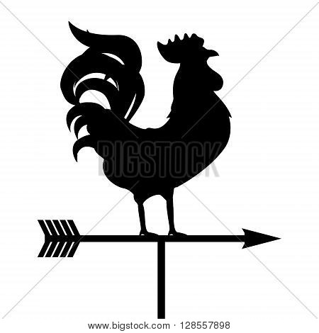 Vector illustration rooster weather vane. Black silhouette rooster cock. Weather vane symbol icon