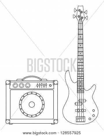Rock electric bass guitar and amplifier for concerts and festivals outlined and in black and white