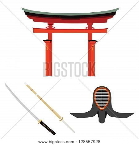 Vector illustration japan symbols. Torii gate kendo sword and helmet. Bamboo batlle sword. Traditional japanese martial art