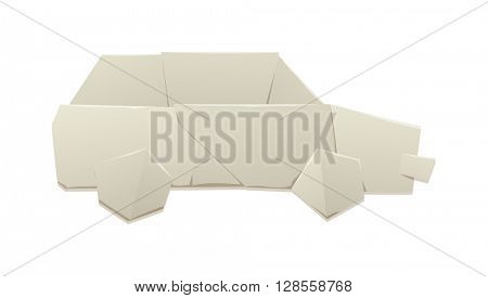 Paper car vector illustration.