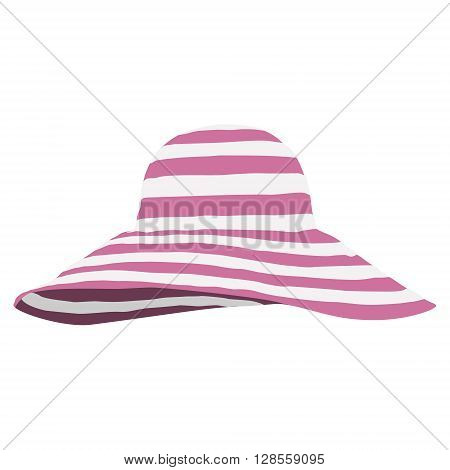 Vector illustration pink beach hat isolated on white. Striped sun summer hat