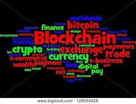 Blockchain, Word Cloud Concept 7