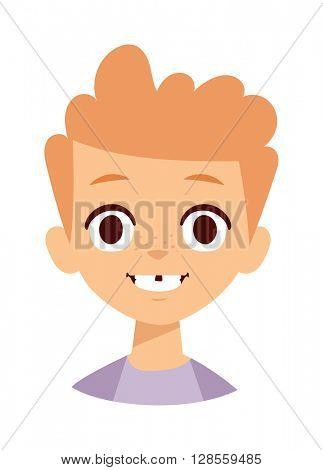 Boy smile face vector illustration.