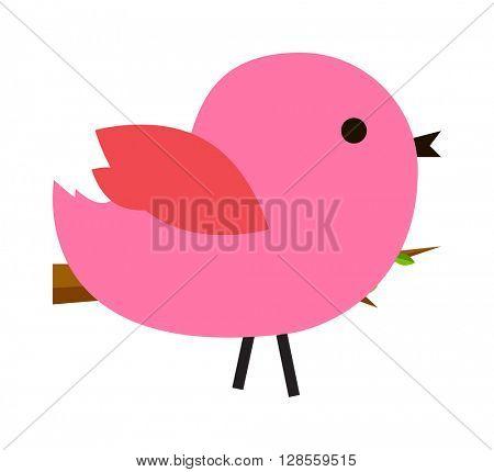 Pink cute bird vector illustration.