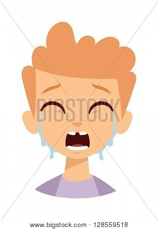 Crying boy vector illustration.