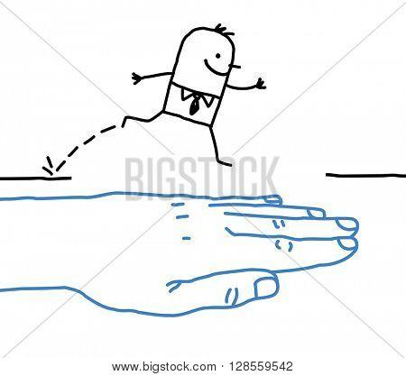big hand with cartoon character - help