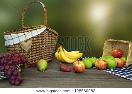 Picnic Basket On The Table With Blue Checkered Tablecloth