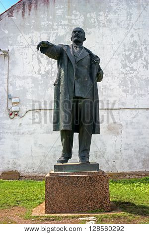 Narva Estonia - May 4 2016: The monument to Vladimir Lenin the leader of the revolution. Earlier it stood at Peter's Square. Now located in the territory of Narva Castle. Estonia.