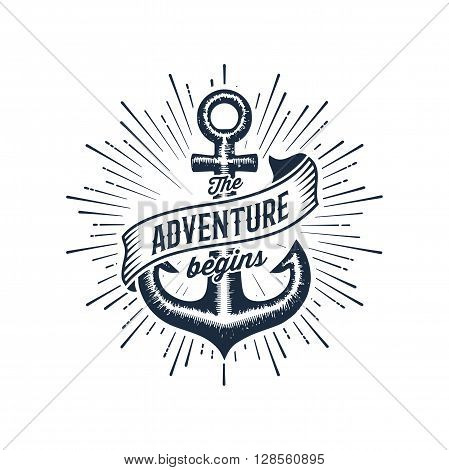 The Adventure Begins vintage illustration with anchor. Design for t-shirt print or poster. Vector illustration.