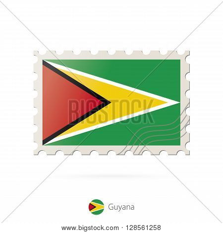 Postage Stamp With The Image Of Guyana Flag.